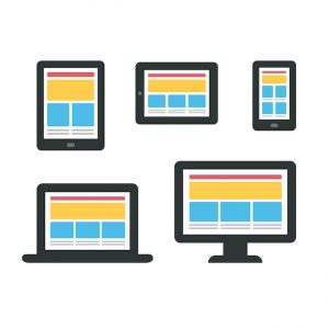 Set of electronic devices - smartphone tablet ebook laptop and desktop computer - with responsive web design content layouts. Minimalistic vector illustration.
